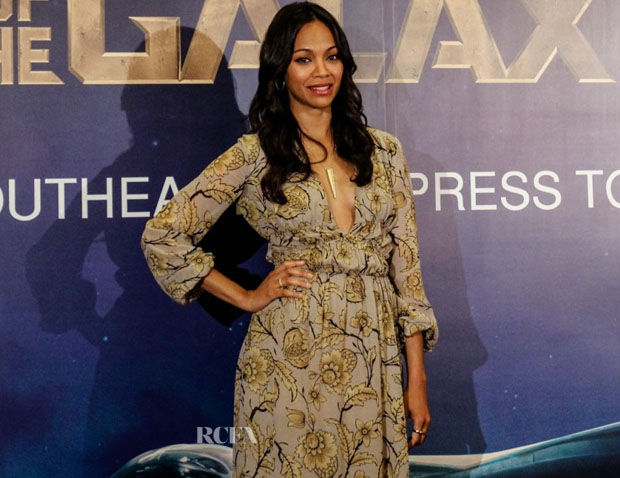 Zoe Saldana In Burberry Prorsum - Guardians of the Galaxy Singapore Press Conference