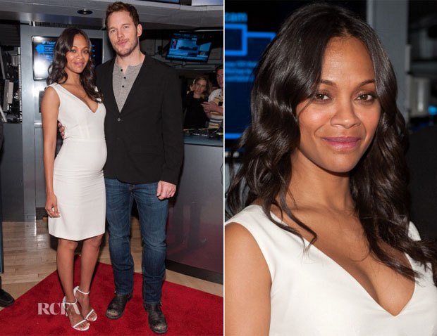 Zoe Saldana In Calvin Klein Collection - 'Guardians Of The Galaxy' Cast Ring The New York Stock Exchange Opening Bell