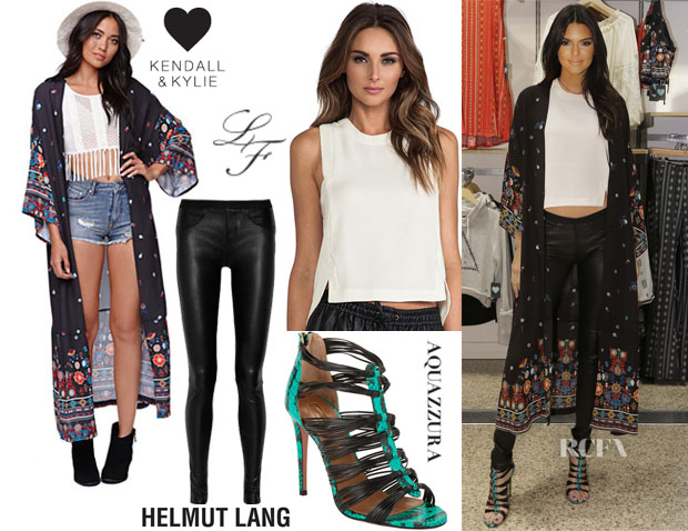 Kendall Jenner's Kendall & Kylie Maxi Kimono, Helmut Lang Stretch-Leather Leggings, Aquazzura Snakeskin Xena Strappy Sandals & Lovers + Friends x Monica Rose Avery Top