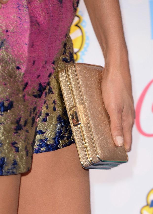 Nina Dobrev's MICHAEL Michael Kors 'Elsie' gold clutch