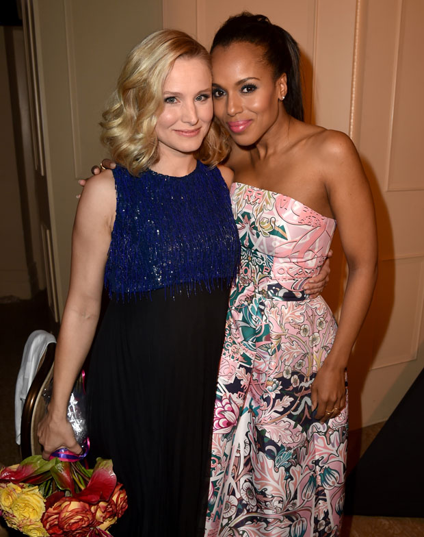 Kristen Bell in Andrew Gn and Kerry Washington in Mary Katrantzou