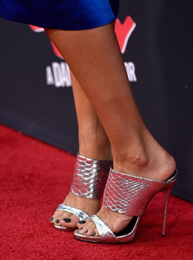 Jessica Alba's silver mules