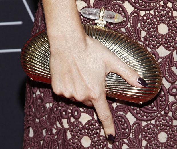Lizzy Caplan's  Judith Leiber  clutch