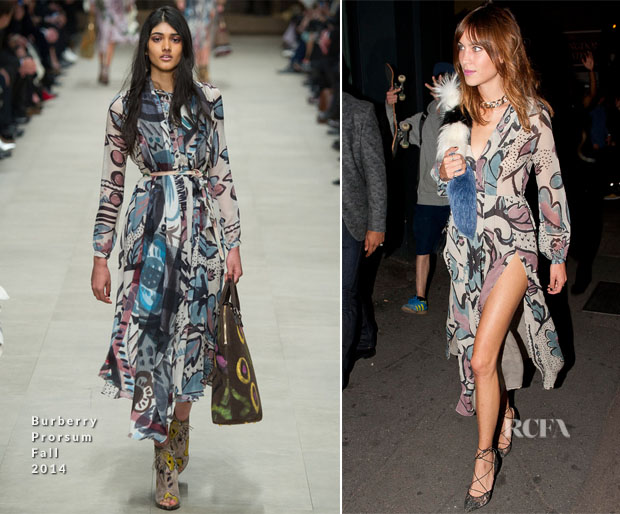 Alexa Chung In Burberry Prorsum - Nick Grimshaw's Birthday Party