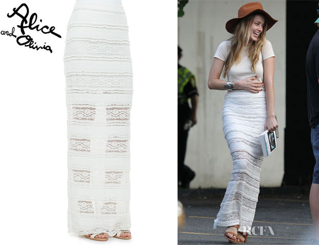 Amber Heard's Alice + Olivia 'Ettley' Tiered Lace Maxi Skirt