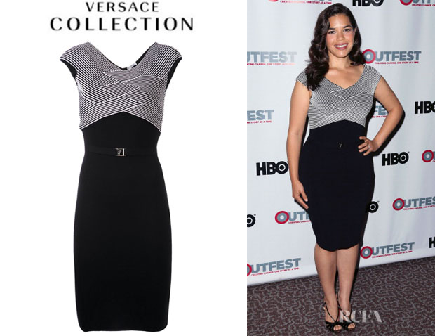 America Ferrera's Versace Collection Body Con Knit Dress