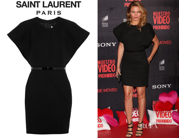 Cameron Diaz' Saint Laurent Kimono-Style Wool-Crepe Dress
