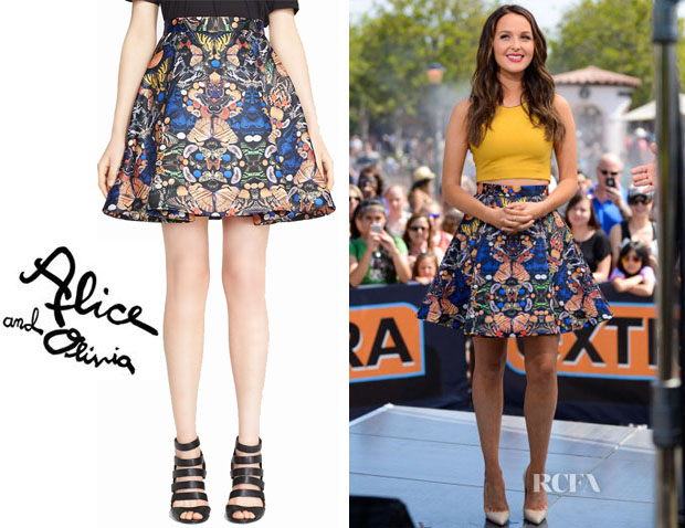 Camilla Luddington's Alice + Olivia 'Nyla' Print Pleat Flared Skirt