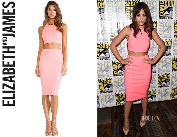 Chloe Bennet's Elizabeth and James 'Upton' Sleeveless Crop Top And Elizabeth and James 'Carolan' Skirt