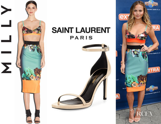 Chrissy Teigen's Milly Long Pencil Skirt And Saint Laurent 'Jane' Leather Sandals