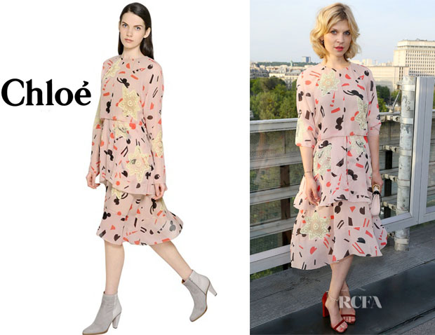 Clemence Poesy's Chloé Abstract Printed Silk Georgette Dress