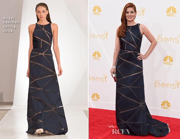 Debra Messing In Angel Sanchez - 2014 Emmy Awards
