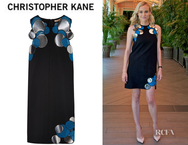 Diane Kruger's Christopher Kane Appliquéd Stretch-Cady Mini Dress