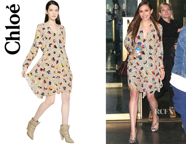 Elizabeth Olsen's Chloé Geometric Printed Silk Crepe Dress