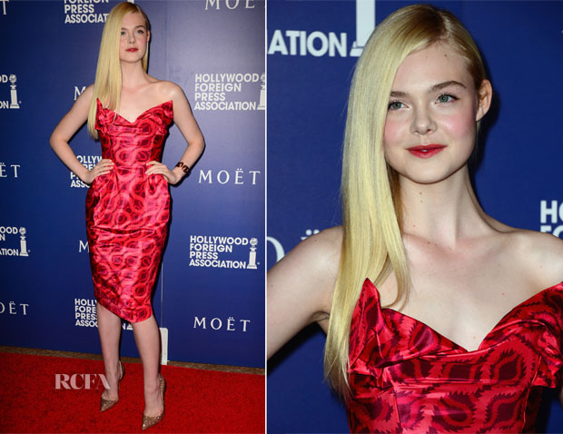 Elle Fanning In Vivienne Westwood Gold Label - Hollywood Foreign Press Association's Grants Banquet