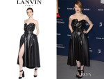Emma Stone's Lanvin Faux Leather Bustier Dress