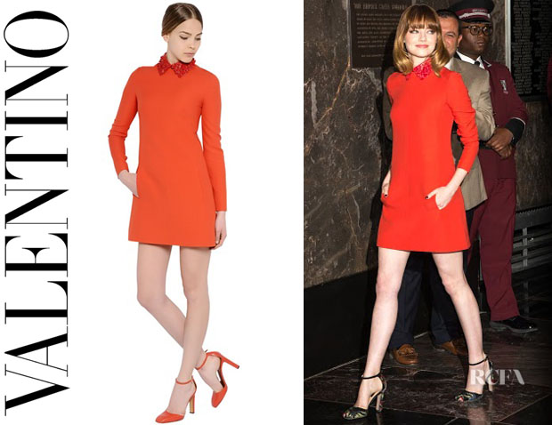 Emma Stone's Valentino 'Nappa' Leather Collar On Wool Crepe Dress