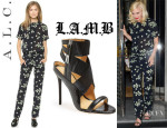 Gwen Stefani's A.L.C. 'Clay' Top, A.L.C. 'Collins' Pants And L.A.M.B. 'Reina' Sandals