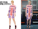 Gwendoline Christie's Peter Pilotto Embroidered Wool Crepe Dress
