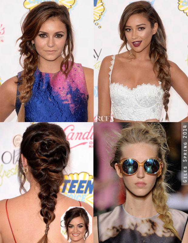 Hair Trend Spotting Messy Braided Ponytails Red Carpet Fashion Awards