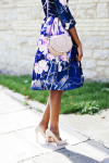 MSGM Floral-Print Duchess-Satin Dress - MatchesFashion Chloé Marcie Mini Cross-Body Bag - MatchesFashion Aurélie Bidermann Miki Lapis and Gold-Plated Ring - MatchesFashion Christian Louboutin Rolando Pumps