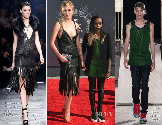 Ireland Baldwin In Roberto Cavalli & Angel Haze In Helmut Lang and Raf Simons - 2014 MTV Video Music Awards #VMA