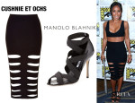 Jada Pinkett Smith's Cushnie et Ochs Cut-Out Rib-Kit Skirt And Manolo Blahnik 'Platee' Sandals