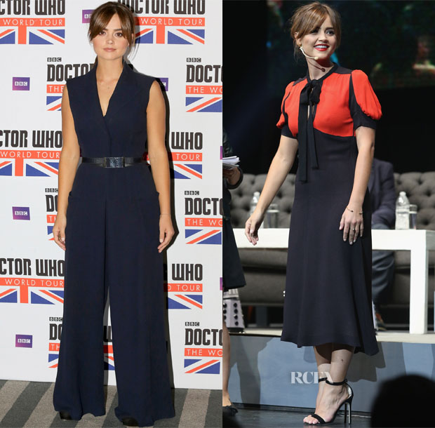 Jenna Coleman In Peekaboo Vintage, Victoria, Victoria Beckham & Christian Dior - 'Doctor Who' Promo Tour 2