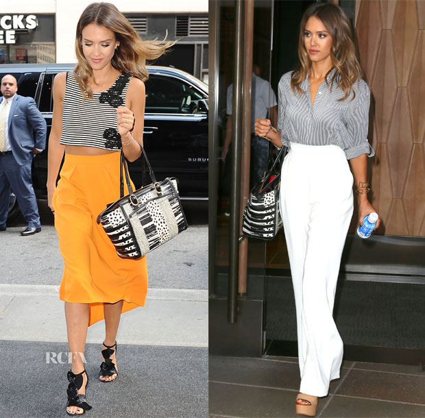 Jessica Alba In Houghton, Osman, Alice + Olivia & Max Mara - 'Sin City A Dame To Kill For' New York Promo Tour