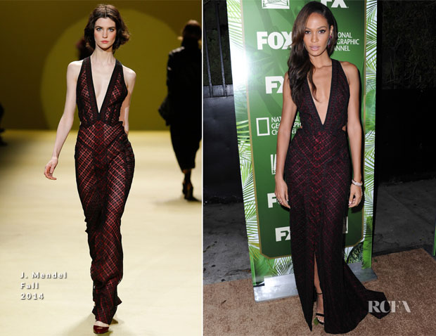 Joan Smalls In J Mendel - FOX's 2014 Emmy Award Nominee Celebration