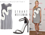 Joanne Froggatt's Stella McCartney 'Agatha' Fringed Wicker Lace Mini Dress And Stuart Weitzman 'Nudist' Sandals