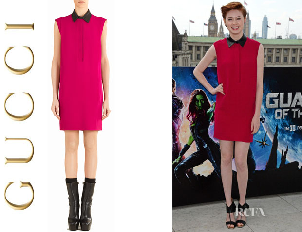 Karen Gillan's Gucci Leather Collar Dress