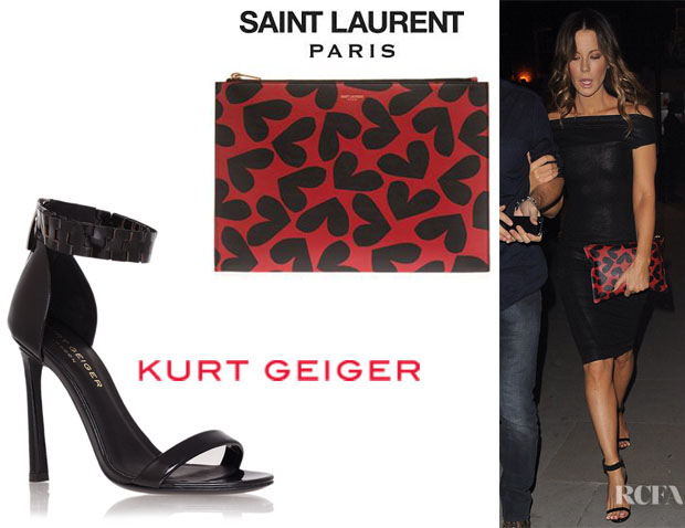 Kate Beckinsale's Saint Laurent Heart Print Clutch And Kurt Geiger London 'Aneka' Sandals