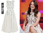 Keira Knightley's Holly Fulton Embellished Printed Silk and Organza Dress