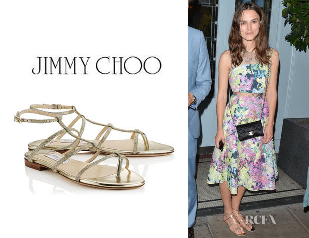 Keira Knightley's Jimmy Choo 'Doodle' Mirrored-Leather Sandals 1