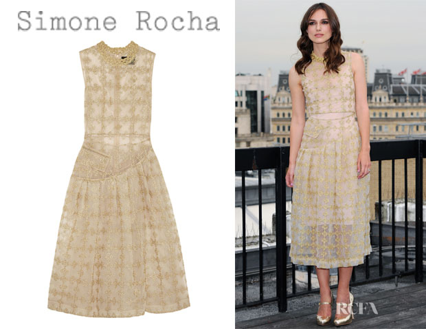 Keira Knightley's Simone Rocha Metallic-Embroidered Tulle Midi Dress