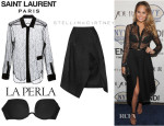 Chrissy Teigen's Saint Laurent Sheer Shirt, La Perla 'Up Date' Multi-Way Padded Bra And Stella McCartney Houndstooth Jacquard Midi Skirt