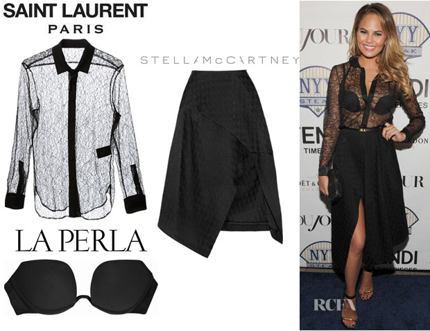 La Chrissy Teigen's Saint Laurent Sheer Shirt, La Perla Up Date 'Multi-Way' Padded Bra And Stella McCartney Houndstooth Jacquard Midi Skirt