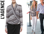 LeAnn Rimes' L'Agence Long-Sleeve Shawl Collar Blouse