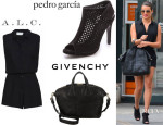 Lea Michele's A.L.C. 'Drew' Romper, Pedro Garcia 'Sofia' Peep Toe Booties And Givenchy 'Nightingale' Satchel