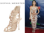 Lizzy Caplan's Sophia Webster	'Lacey' Strappy Metallic Sandals