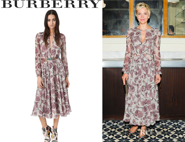 Maggie Gyllenhaal's Burberry Prorsum Victorian Print Washed Georgette Dress