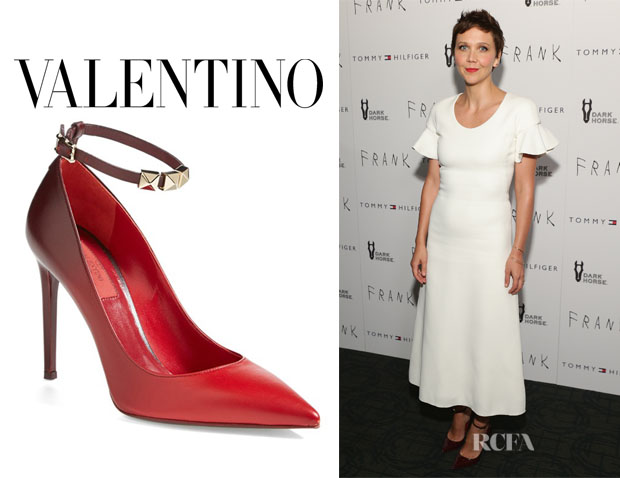 Maggie Gyllenhaal's Valentino Rouge Leather Ankle-Strap Pumps
