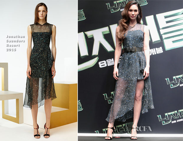 Megan Fox In Jonathan Saunders - 'Teenage Mutant Ninja Turtles' Seoul Press Conference