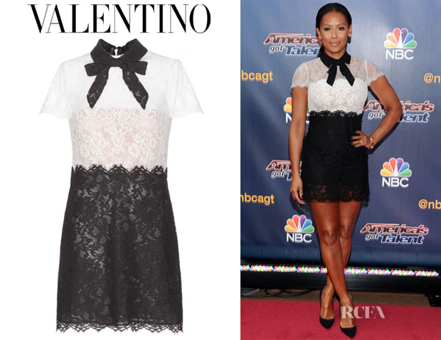 Melanie Brown's Valentino Pussy-Bow Lace Mini Dress