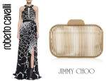 Michelle Williams In Roberto Cavalli & Jimmy Choo Cloud Clutch