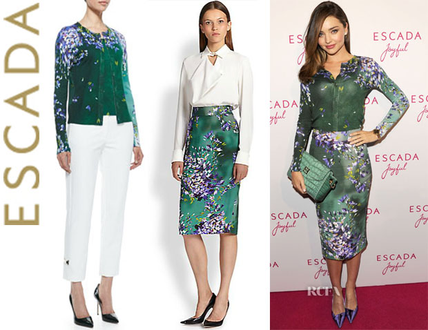 Miranda Kerr's Escada Floral Cardigan And Escada Floral Pencil Skirt