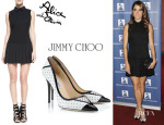 Nikki Reed's Alice + Olivia Drop-Waist Pleated-Skirt Dress And Jimmy Choo 'Daiquiri' Pumps