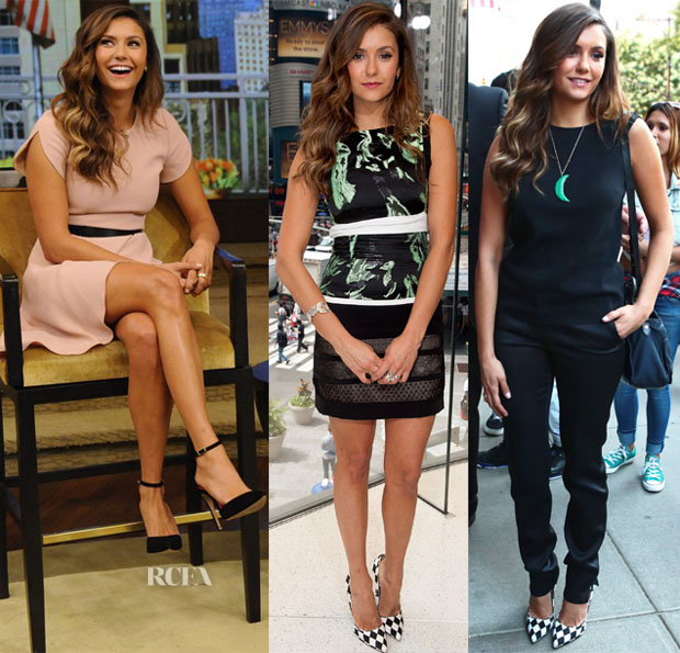 Nina Dobrev In Andrew Gn, J Mendel & Elie Saab - 'Let's Be Cops' New York Promo Tour
