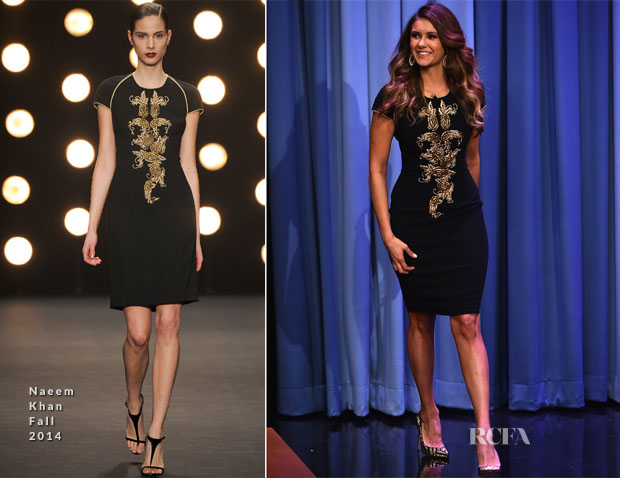 Nina Dobrev In Naeem Khan - Late Night Starring Jimmy Fallon